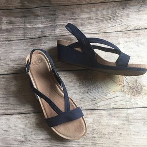 UGG Kenley Wedge Sandals Navy 9M